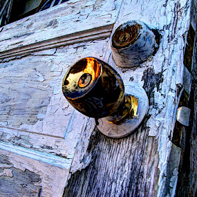 Old paint peeled door by JoAnn Palmer - Artistic Objects Other Objects ( old, l door, peeling paint, handle, painted, art, paint, rustic, weathered, aged )