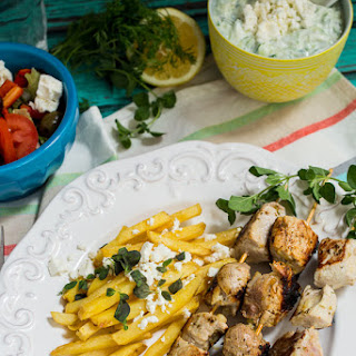 Pork Souvlaki with Greek Fries and Tzatziki Sauce