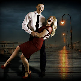 lady in red by Connie Schow Anderson - People Couples ( lights, shoes, red, night, couple, dance )