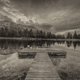 reflect by Casey Mitchell - Black & White Landscapes ( clouds, mountain, black and white, cloudscape, lake, pond, dock )