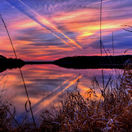 Twins by Derrill Grabenstein - Landscapes Cloud Formations ( clouds, contrails, waterscape, reflections, lake, sunrise )