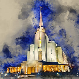 Rexburg Idaho LDS Temple by Valerie Aebischer - Digital Art Places ( temple, mormon, religion, mormon temple, lds temple )