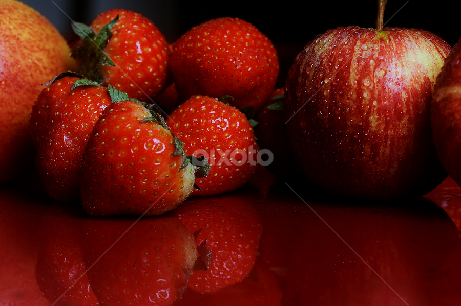 Fruits by Vineet Johri - Food & Drink Fruits & Vegetables ( water, reflection, tasty, red, apple, drops, strawberry )