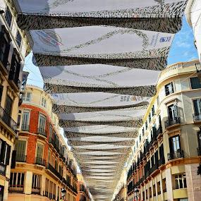 Shaded Street, Malaga by Francis Xavier Camilleri - City,  Street & Park  Street Scenes