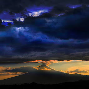 by Cristobal Garciaferro Rubio - Landscapes Cloud Formations ( clouds, volcano, sunset, smoking volcano )