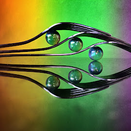 Balancing forks and marbles by Janette Ho - Artistic Objects Still Life