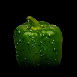 Wet Bell Pepper by Christy Stanford - Food & Drink Fruits & Vegetables ( water, bell, green, food, drops, gardening, bell pepper, pepper, wet, vegetable )