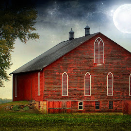 Moon and Barn by Sandy Considine - Uncategorized All Uncategorized ( moon, barn, moonlight,  )