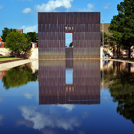 Reflecting pool by Clarence Hagler - City,  Street & Park  Historic Districts ( clouds, oklahoma memorial, oklahoma city, reflecting pool, oklahoma,  )