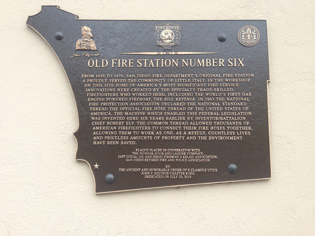 FIREHOUSE MUSEUM  OLD FIRE STATION NUMBER SIX FROM 1915 TO 1970, SAN DIEGO FIRE DEPARTMENT'S ORIGINAL FIRE STATION 6 PROUDLY SERVED THE COMMUNITY OF LITTLE ITALY. IN THE WORKSHOP ON THIS SITE SOME OF ...