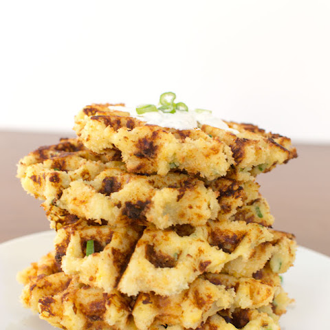 Cheesy Panko Potato Waffles