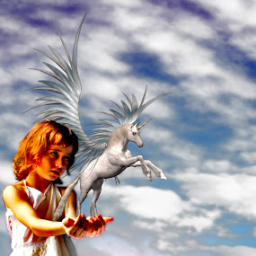 Unicorn girl by Vala Valgeirsdóttir-Vincent - Digital Art People ( flying, girl, unicorn, red head )