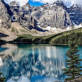 Lake Moraine, Alberta Canada by Diane Ljungquist - Landscapes Mountains & Hills