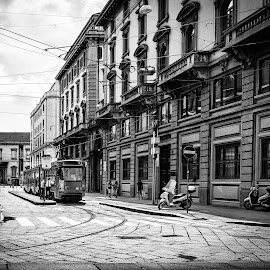 Streetcar by Kevin Warrilow - City,  Street & Park  Street Scenes ( trams, milan, black and white, cablecar, streets, italy )