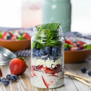 Red White and Blue Mason Jar Salad (Fruit and Feta Salad)