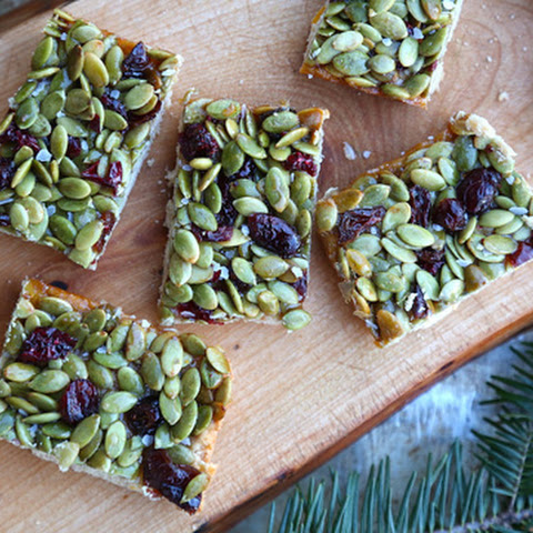 Salted Honey Cranberry Pumpkin Seed Bars