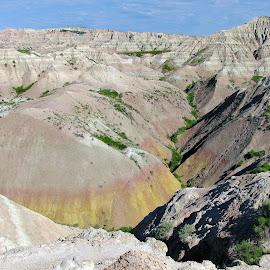 Yellow Mounds, Badlands, SD by Linda Woodworth Sulla - Landscapes Caves & Formations