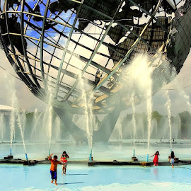 Summertime Under the Unisphere by Joseph Tague - City,  Street & Park  City Parks ( playing, park scene, icon, park, fountains, parks, play, summer, children, icons, summer fun, summertime, fair, globe )