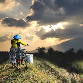 Going Home by Irwan Setiawan - Digital Art People ( urban, rice field, sunset, human interest, landscape )