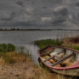 Alone by Kim  Schou - Transportation Boats ( clouds, hdr, enoe, weather, boat )