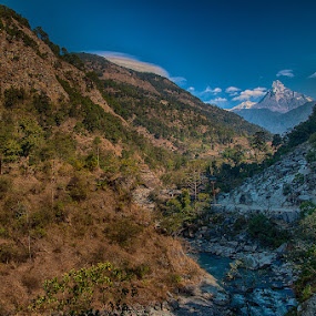 Path to Fishtail mountain by Vorravut Thanareukchai - Landscapes Mountains & Hills ( field, mountain, path, cloud, fishtail, nepal )