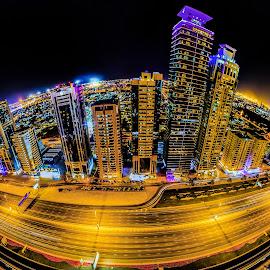 Sheikh Zayed Road by Munzer Al-Seed - City,  Street & Park  Skylines ( emirates, fisheye, architecture, panorama, hotels, nightscape, tower, towers, dubai, wide angle, uae, long exposure, night, hotel )