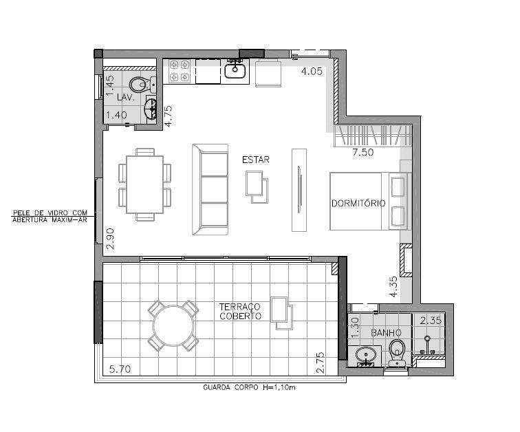 Planta 2º andar (Final 7) - 59 m²