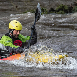 Canoeist on the river Nith Scotland by Andrew Lancaster - Sports & Fitness Watersports ( water, splash, splashing, waterscape, waves, canoe, sport, helmet, oar, paddle )