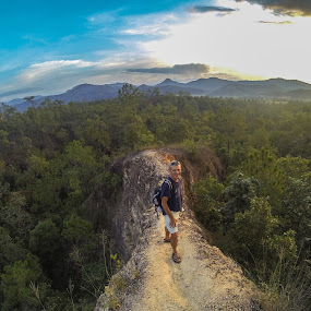 Trail in the air by Antonin de Bertimbrie - Travel Locations Landmarks ( sunset, trail, forest, travel, alone, man )