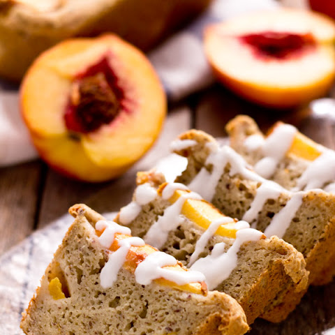 Mini Ginger Peach Cobbler Bread with Coconut Glaze
