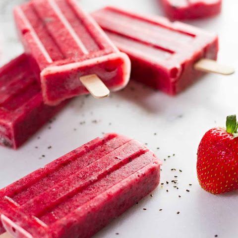 Strawberry Chia Seed Popsicles