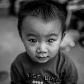 Seize Your Moment by Michael Yue - Babies & Children Child Portraits ( black and white, happy, determined, children, eyes )
