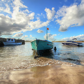 A PERFECT DAY BY THE SEA by Carol Lauderdale - Transportation Boats ( sky, seascapes, reflections, boats, sand and sea,  )