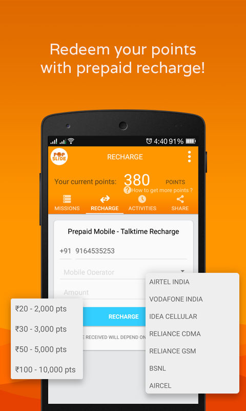 PopSlide:Earn Prepaid Recharge Screenshot 0
