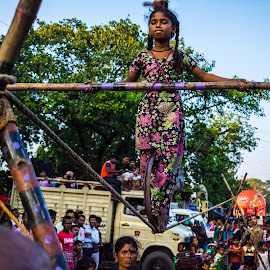 Balance is an Illusion by Amit Roy - Babies & Children Children Candids ( balance, kolkata, india, street performer, street photography )