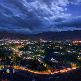Leh At Night, J&K, June 2018 by Manabendra Dey - City,  Street & Park  Night ( shantistupa, night, light trails, long exposure, leh )