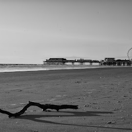 Central Pier black and white by Shakir Sharif - Buildings & Architecture Public & Historical ( nature, sea site, 2015, sunset, sea, nikon d7100, seascape, blackpool, nikon, dusk, light )