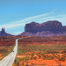 Monument Valley by Dipali S - Landscapes Deserts ( monument valley, desert, mountain, highway, canyon, rock, tourism, road, scenic, travel, colorado plateau, usa, navajo tribal park, two lane highway, mesa, utah, arizona, outdoor, tribal park, american southwest )