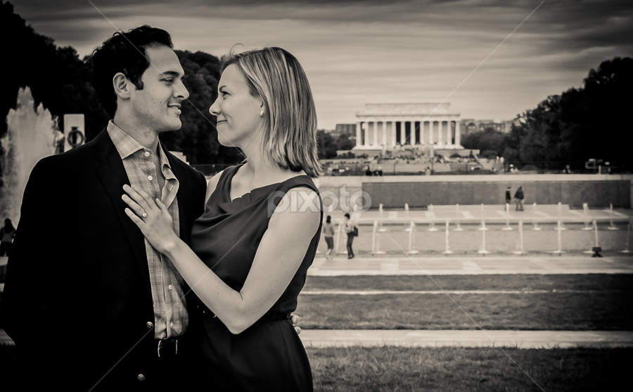 Just Engaged ... by Darshan Vaishnav - People Couples ( lincoln memorial, washington dc, pwcprofiles-dq, dc engagement )