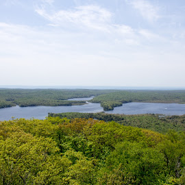 View From Kane Mountain Fire Tower by William Hayes - Novices Only Landscapes ( upstate, green lake, fire tower, kane mountain, amateur, adirondacks, family walk, new york, hiking, canada lake )