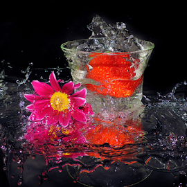 strawberry with flower by LADOCKi Elvira - Food & Drink Fruits & Vegetables ( fruits )