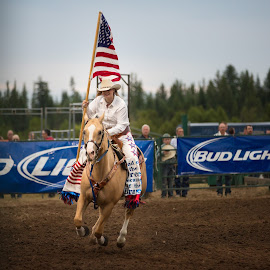Flag Bearer by Craig Lybbert - Sports & Fitness Rodeo/Bull Riding ( flag, horse, rodeo, cowgirl, usa, country )