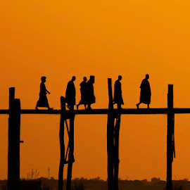 last walk of the day by Nakul    Sharma - Landscapes Sunsets & Sunrises ( myanmar, nature, sunrise, bridge,  )