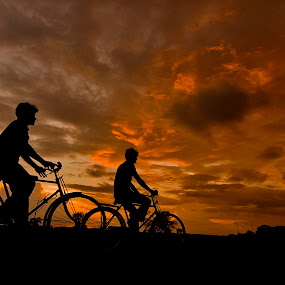 Cpmpanion by Gourab Mitra - Transportation Bicycles ( sunset, nicycle, landscape, dusk, cpmpanion,  )