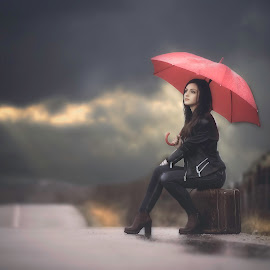 Waiting by Ρενος Κωστοπουλος - People Portraits of Women ( model, red, girl, sunset, woman, umbrella, beautiful, road, beauty )