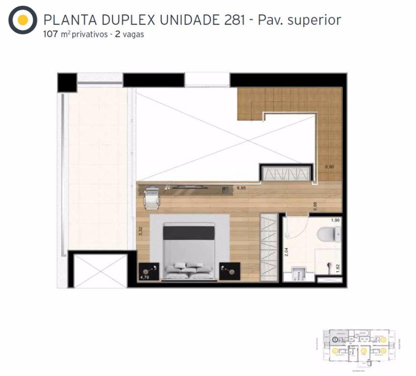 Planta Cobertura Duplex Superior Final 1 - 107 m²