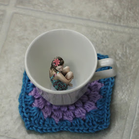 Help by Autumn Horton - Digital Art People ( tiny, photomanip, photomanipulation, purple, crochet, coaster, doily, little, tea, miniature, help, girl, blue, tea cup, small, hair, flower, mini, teacup )
