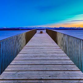 Terrace of Heaven by Nikolas Ananggadipa - Buildings & Architecture Other Exteriors ( terrace, simplicity, sunsets, sunset, lakes, lake, bridge )