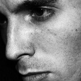 Enigma by Kevin Smith - People Portraits of Men ( black and white, young man, portrait, emotion, caucasian,  )