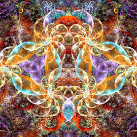 Bright Double Devil by Peggi Wolfe - Illustration Abstract & Patterns ( abstract, wolfepaw, gift, brfight, unique, bright, illustration, fun, double, devil, digital, print, décor, pattern, color, unusual, fractal )